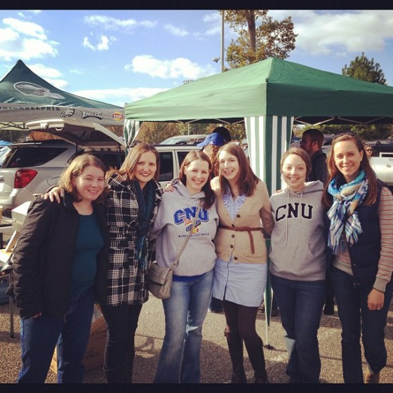 Alumni at the Homecoming tailgate.L to R: Catherine, Sarah, Rachael, Hattie, Beth, and Tracy