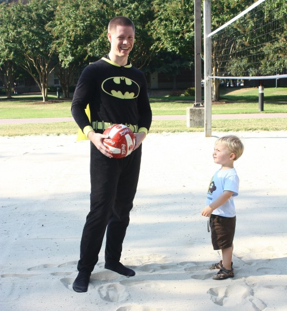 Julian playing volleyball with his friend Billy