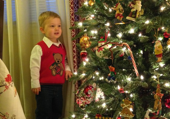 Julian, in awe of our new Christmas tree.