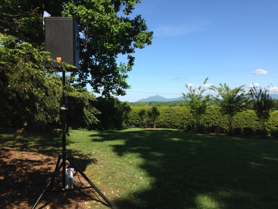 Setting up sound equipment at at IV alumni wedding near Lynchburg, VA
