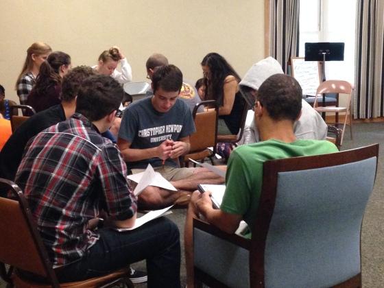 Manuscript Bible study at New Student Retreat